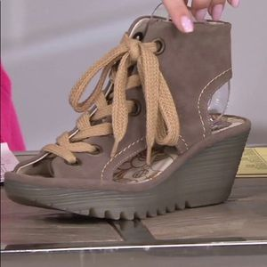 Fly London Lace-up Wedge. European size 38 (8)